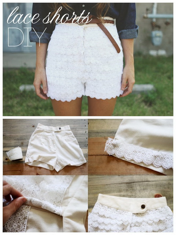 DIY Lace Shorts. Refashion your old summer shorts with some lace trim for an extra feminine pair of bloomers.