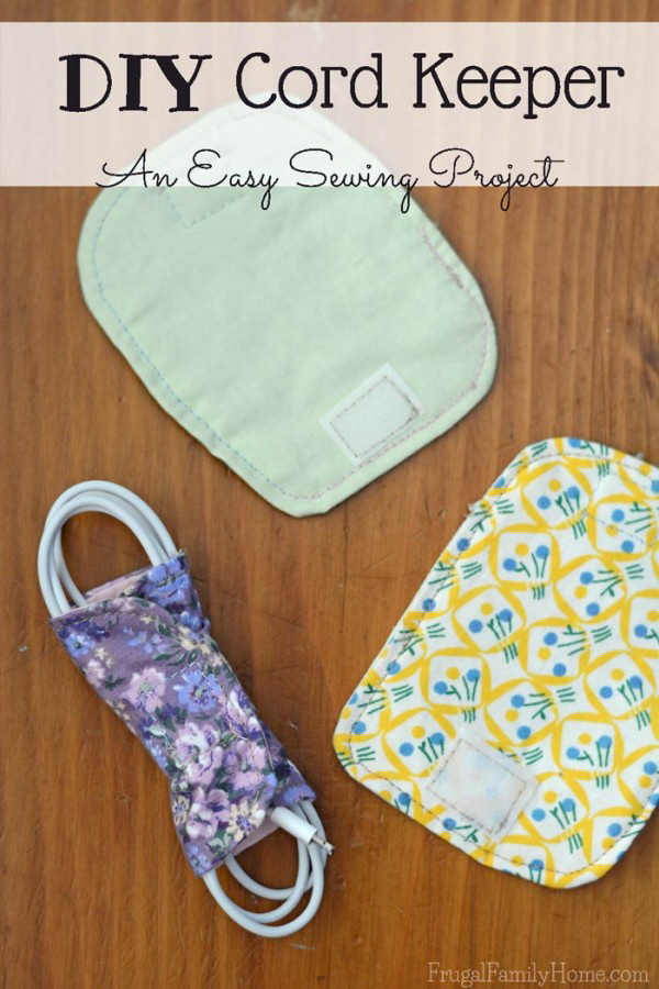 Sewing Cord Keepers. An easy way to organize and store your electrical cords is to create your own cord keepers.
