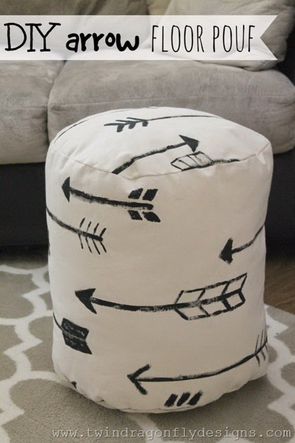 DIY Arrow Floor Pouf. Make your own floor pouf, customizing it with simple arrow patterns.