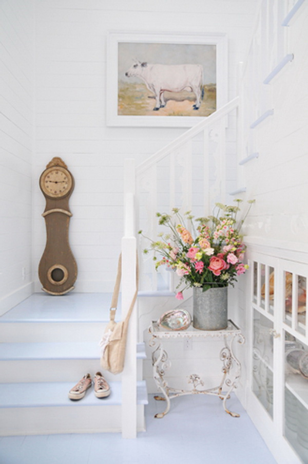 Fresh flowers in the old wire bucket to create the romatic and elegant shabby chic look.