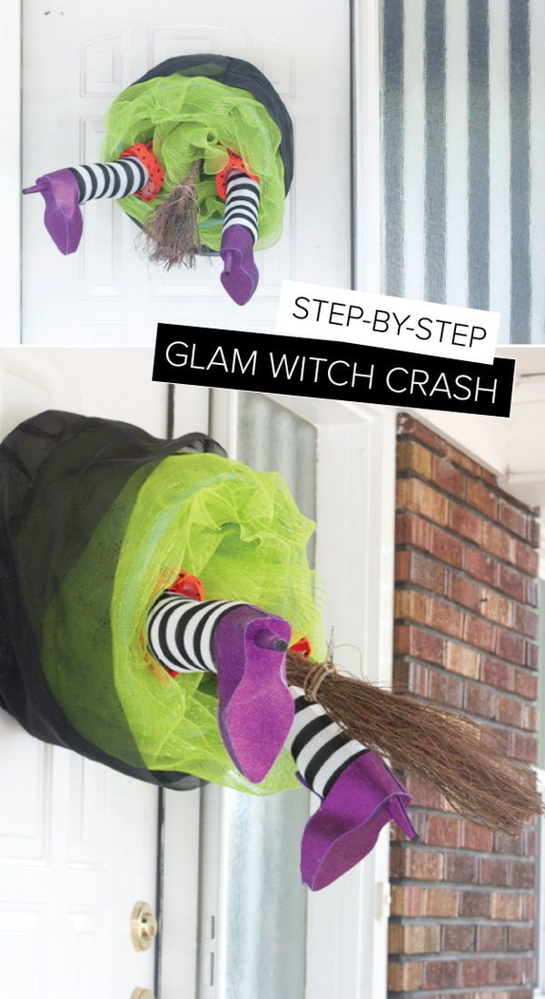 diy witch crash wreath - Homemade Halloween Door Decorations