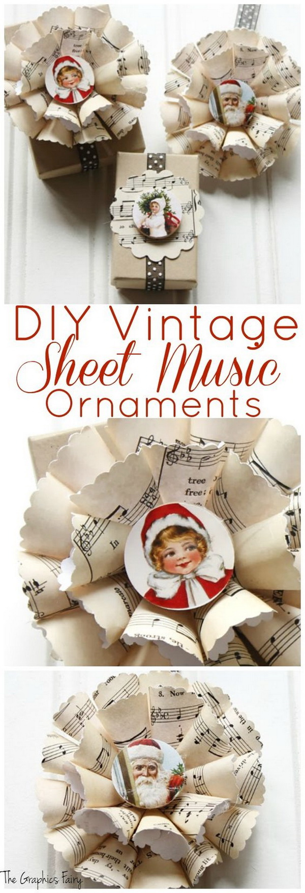 Sheet Music Christmas Ornaments. Make these cute ornament from a song or sheet music of your choice. Look great whether topping a package or hung on the Christmas tree!