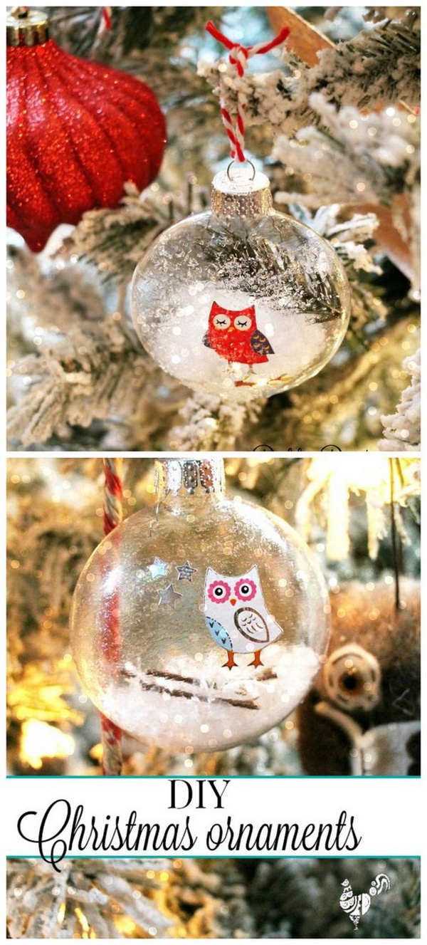 Handmade Glass Christmas Ornaments. Decorate the clear glass Christmas ornaments with a pack of owl stickers. Easy and fun holiday craft for kids to make!