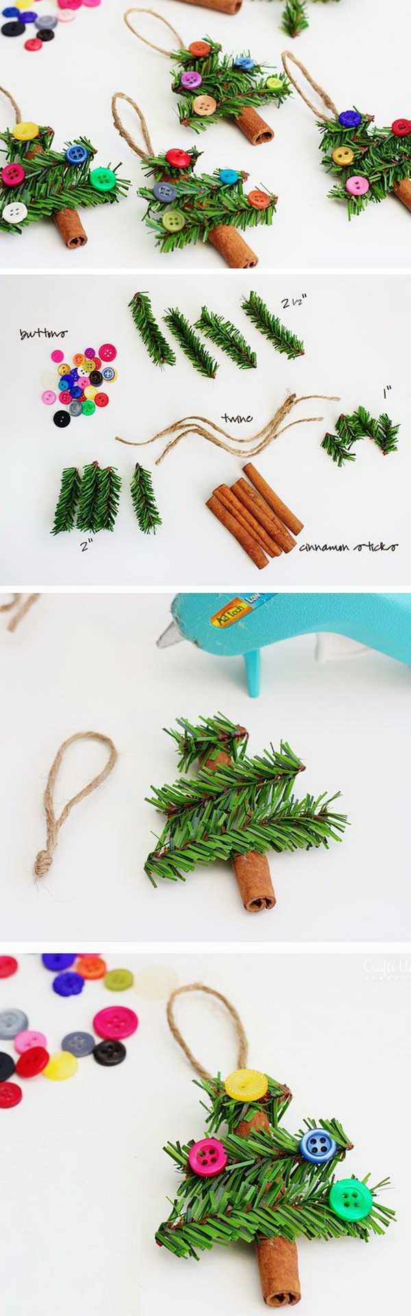 DIY Cinnamon Stick Trees Ornaments. Another super fun and simple ornament tutorial!