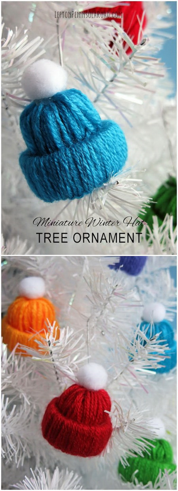 Miniature Winter Yarn Hat Tree Ornaments. These miniature winter hats look so pretty whether hung on the Christmas tree, topping a package, or strung together to make a winter garland! A perfect winter craft project for the whole family to make!
