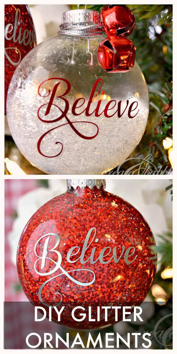 DIY Glitter Christmas Ornaments. Pretty and festive glitter Christmas ornaments for your Christmas decoration or used as the holiday gifts to your loved ones!