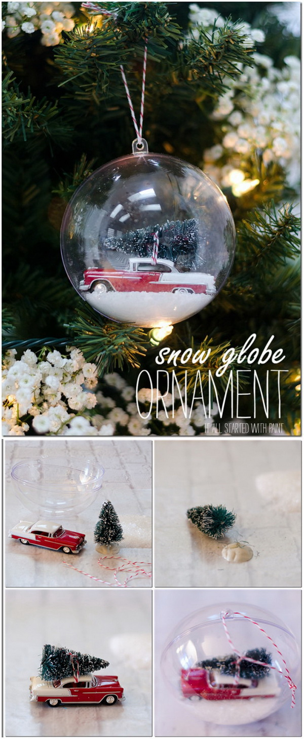 Handmade Snow Globe Ornament. A vintage car with bottle brush tree in a glass ball ornament! Super easy and fun to make in hours!