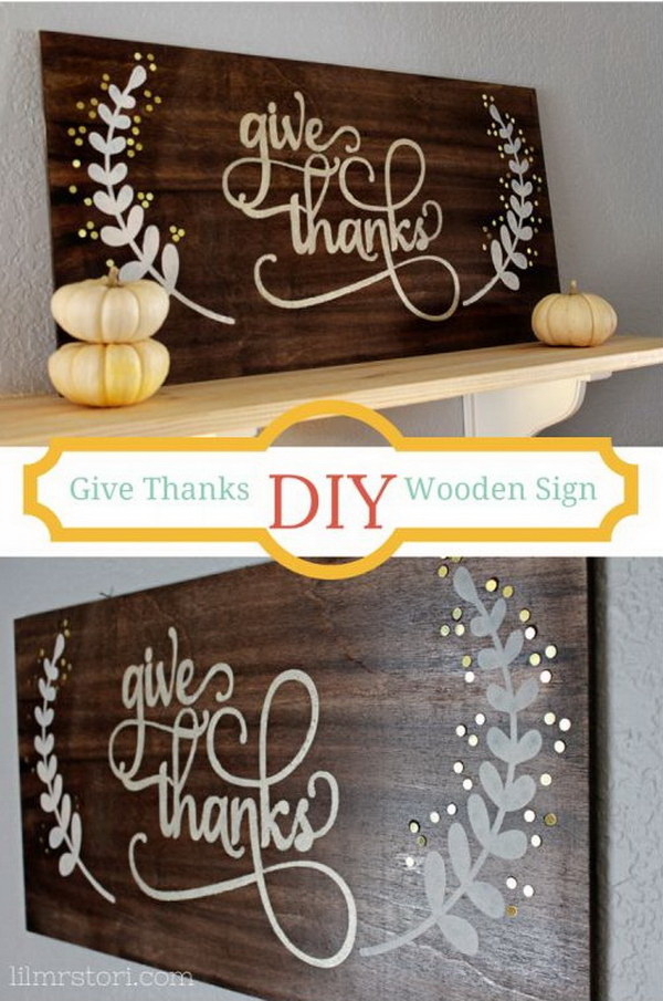 DIY Wooden Sign for Thanksgiving. These adorable thanksgiving wood sign is a prefect addition to any type of Fall decor. Look great on the wall of your entryway!