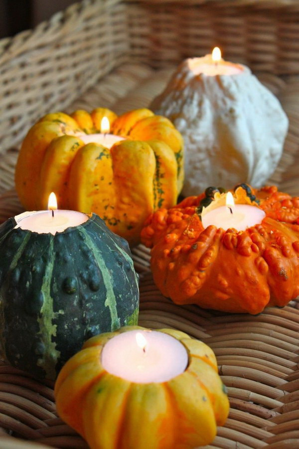 Pumpkin Candle Holders. Turn mini pumpkins into beautiful candle holders that are elegant enough for your holiday table. These DIY mini pumpkin candle holders were so simple and only took about five minutes to make, and they can be sized to fit any tea light.