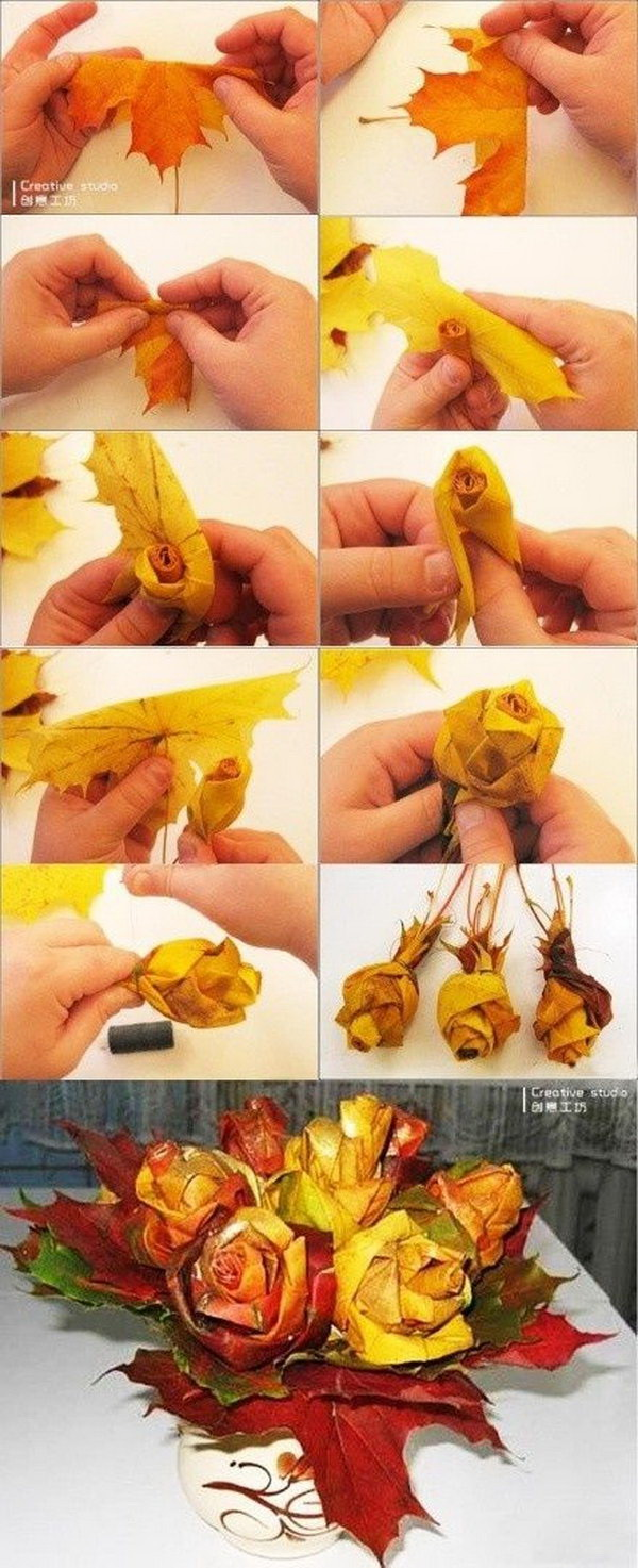 DIY Autumn Leaf Roses. Make beautiful roses out of colorful maple leaves! Perfect for a Fall or Thanksgiving dining table!