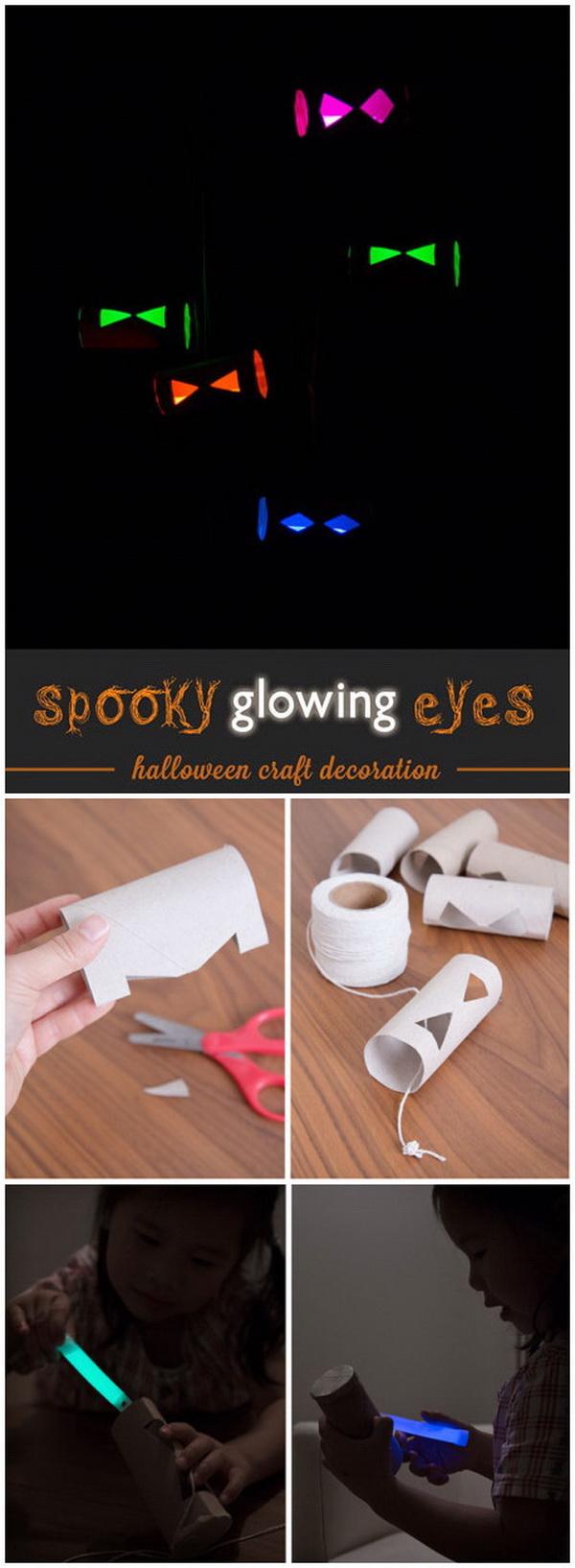 Spooky Glowing Eyes. Creepy glow-in-the-dark eyes! Another easy halloween craft for older kids!