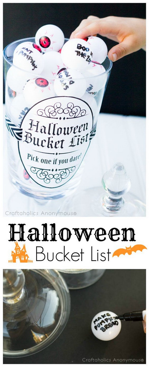 Halloween Bucket List. Make a fabulous kids Halloween craft idea with these halloween bucket lists. Great reminders of all the different ways to celebrate the season.