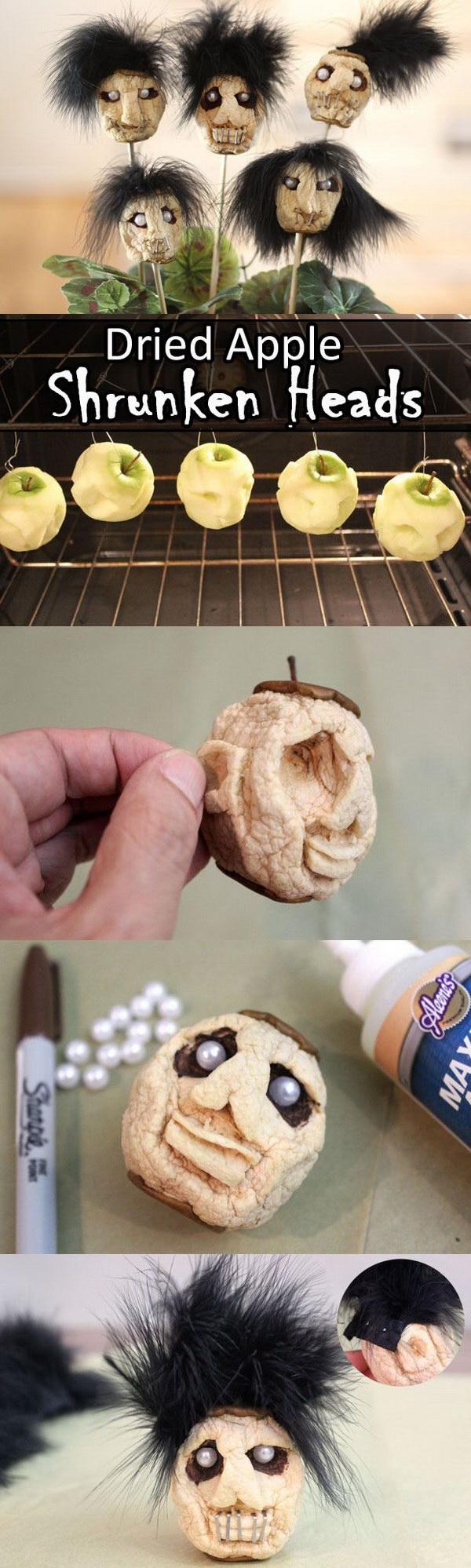 Dried Apple Shrunken Heads. DIY Halloween Craft with Dried Apples -Shrunken Heads for Halloween!