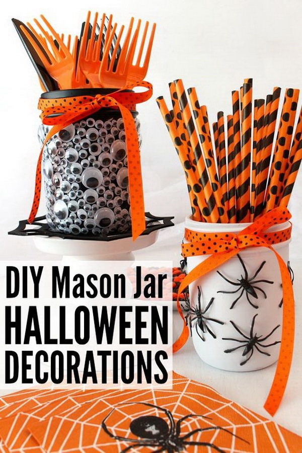 DIY Mason Jar Halloween Decorations. Decorate the mason jars with googly eyes and black spiders and finish them with ribbons. This can be great craft decorations for Halloween.