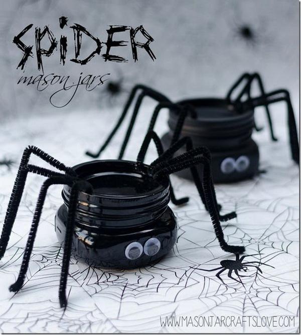 DIY Spider Mason Jars for Halloween.