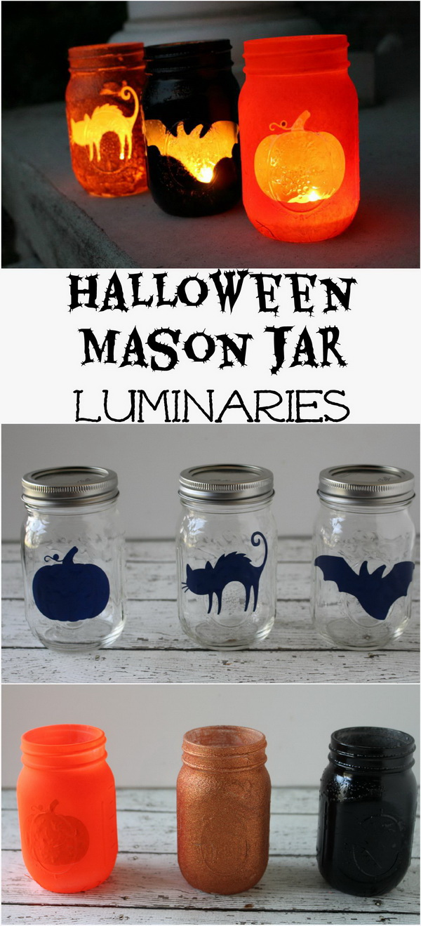These fun DIY Halloween mason jar luminaries can add a cute decoration to any Halloween party. Also easy and quick to make with your kids together.