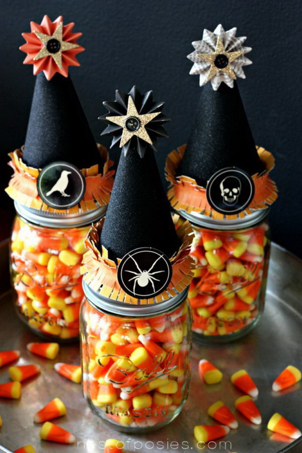 Witches Vitamins Halloween Treats in Mason Jars.