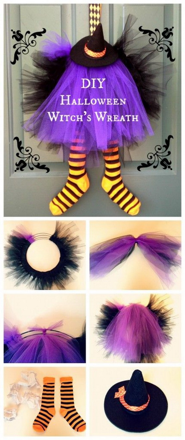 DIY Halloween Witch Wreath. Create this witch wreath for decorating your doors this Halloween. It is so much fun to make with your kids together.