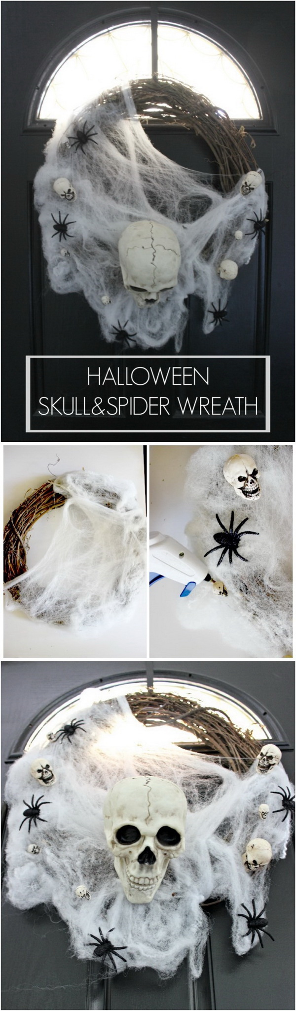 Halloween Skull & Spider Wreath. Another wickedly unique addition to your family's holiday decorations. It was such a fun and easy project. Even your little ones can get involved in.