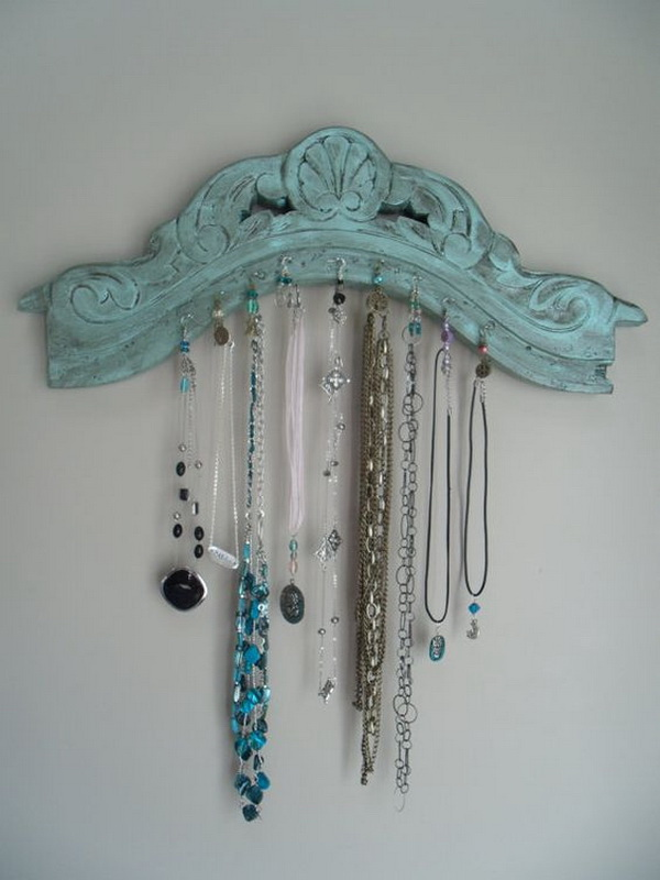 Antique Chair Top Jewelry Organizer. Recycle the antique chair top into the practical jewelry organizer! You can paint them to match your shabby chic decor!