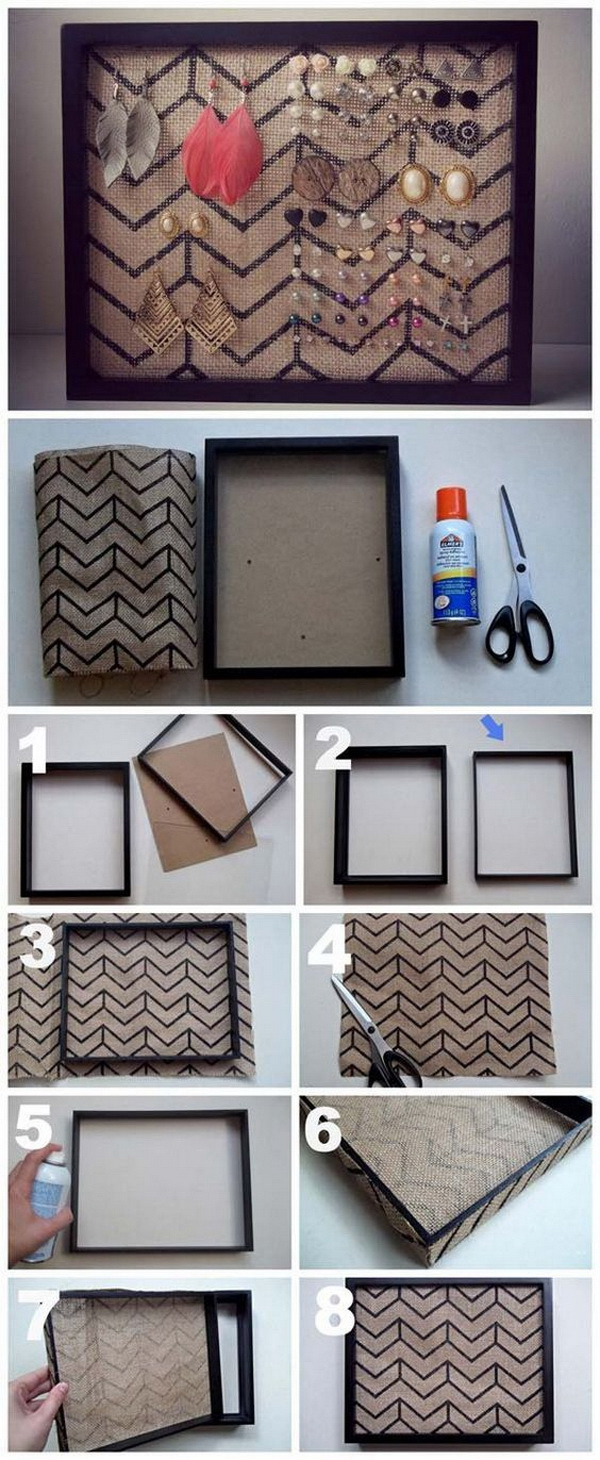 DIY Earring Framed Holder. Simply add burlap in a stand up picture frame, you will have this wonderful DIY framed piece for your earring storage.