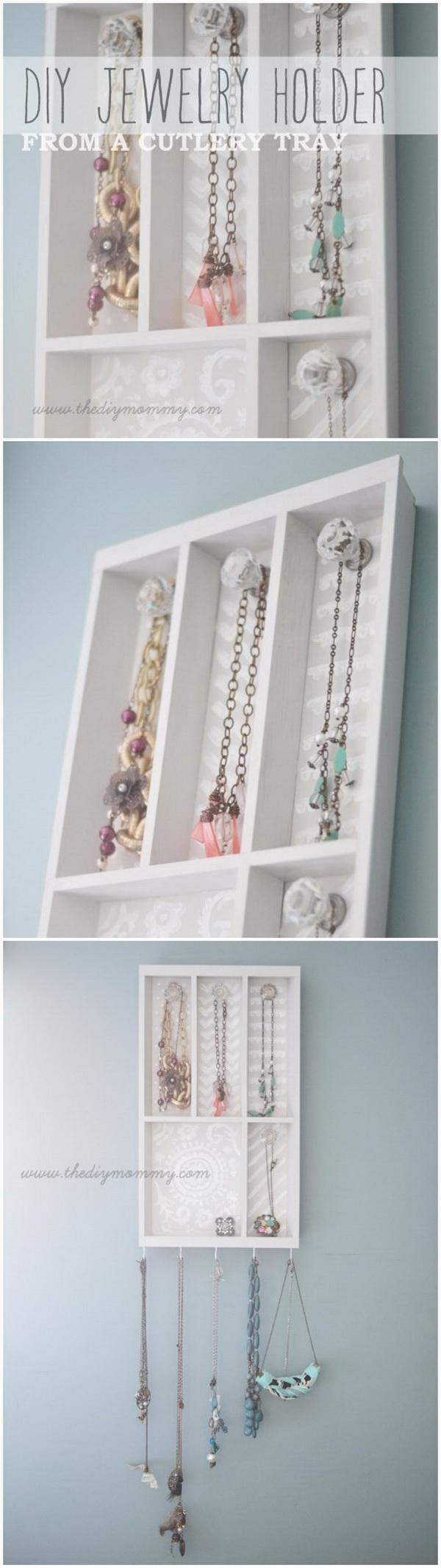 DIY Jewelry Holder from a Cutlery Tray.