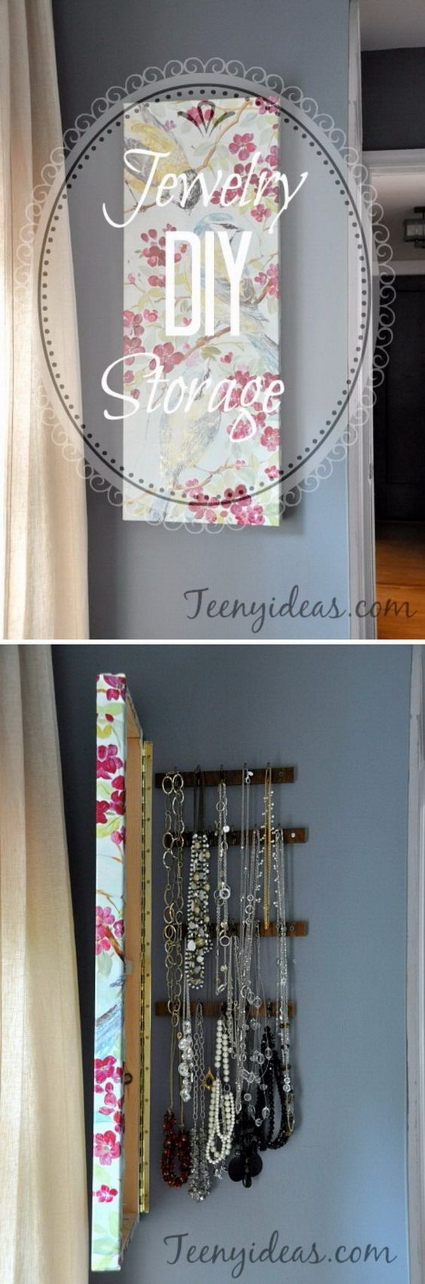 DIY Wall Canvas with Hidden Jewelry Storage. This DIY wall canvas with hidden jewelry storage is a beautiful way to organize your jewelry and serve as a stylish wall decoration piece.