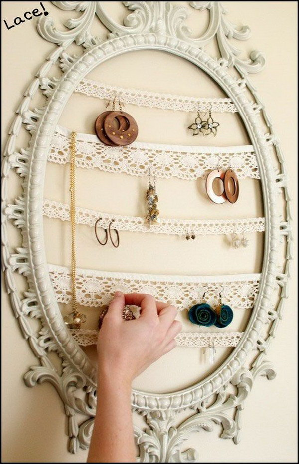 DIY Shabby Chic Jewelry Organizer. Create an awesome jewelry holder with shabby chic charm by using lace in an old picture frame.
