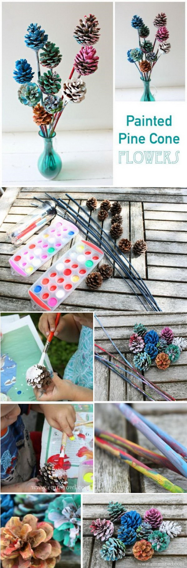 Beautiful Painted Pine Cone Flowers. Decorating with pine cones isn't only for the winter holidays. These pine cone flowers customized with colorful paint make the best decorations for the spring or summer season!