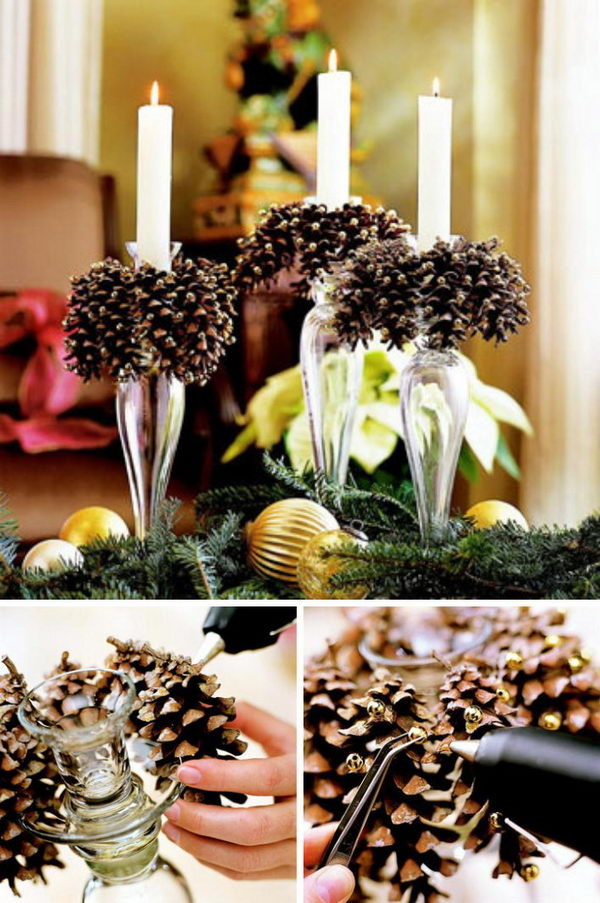 DIY Pinecone Decorated Candles. Beautify your fall dinner table with these pine cone decorated candles. A little prep work and get the best results!
