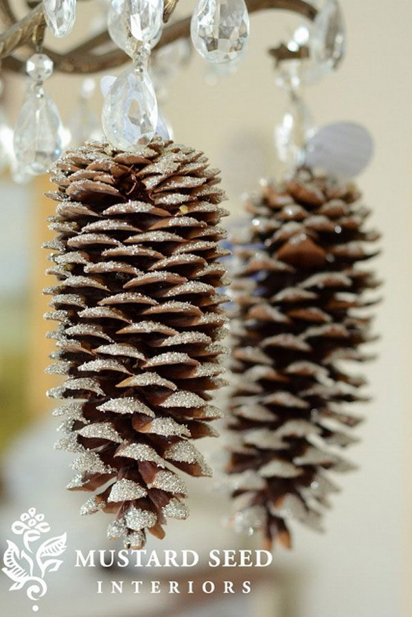 DIY Glittery Pinecones. Love this idea with the simple glittery pinecones. Would be a great decoration on your home decoration during this winter holiday.