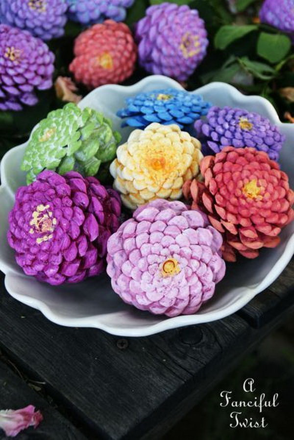 Coloful Painted Pinecones Flowers. Add a pop of bright colors to your home with these beautiful painted pinecone flowers.