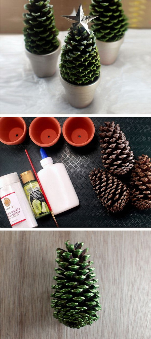 Pine Cone Christmas Tree. Paint an entire pine cone with acrylic craft paint in green, and set the painted pine cones in each dusty gray painted pot and topped with a star made out of a craft foil.