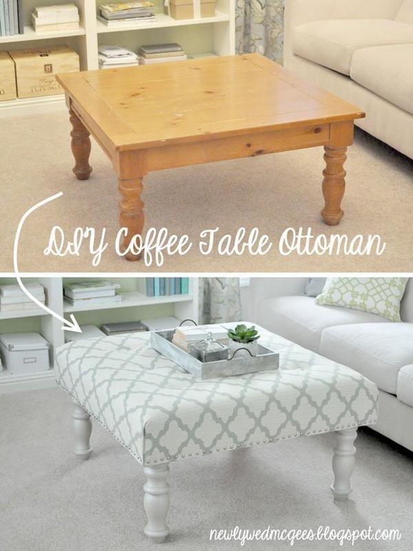 DIY Shabby Chic Upholstered Ottoman.