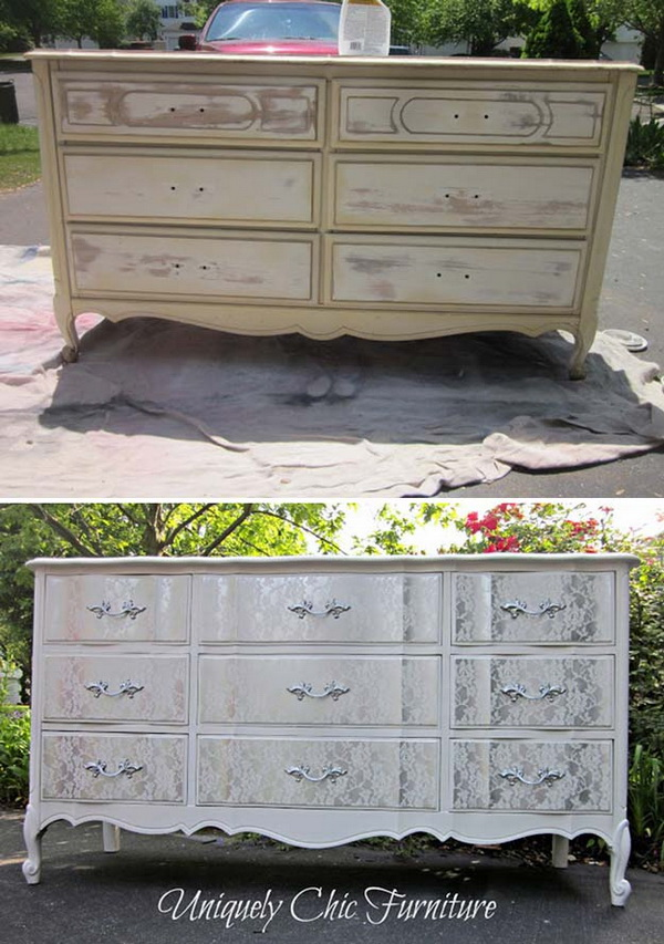 Turn The Old Dresser Shabby Chic With Some Lace And Paint.
