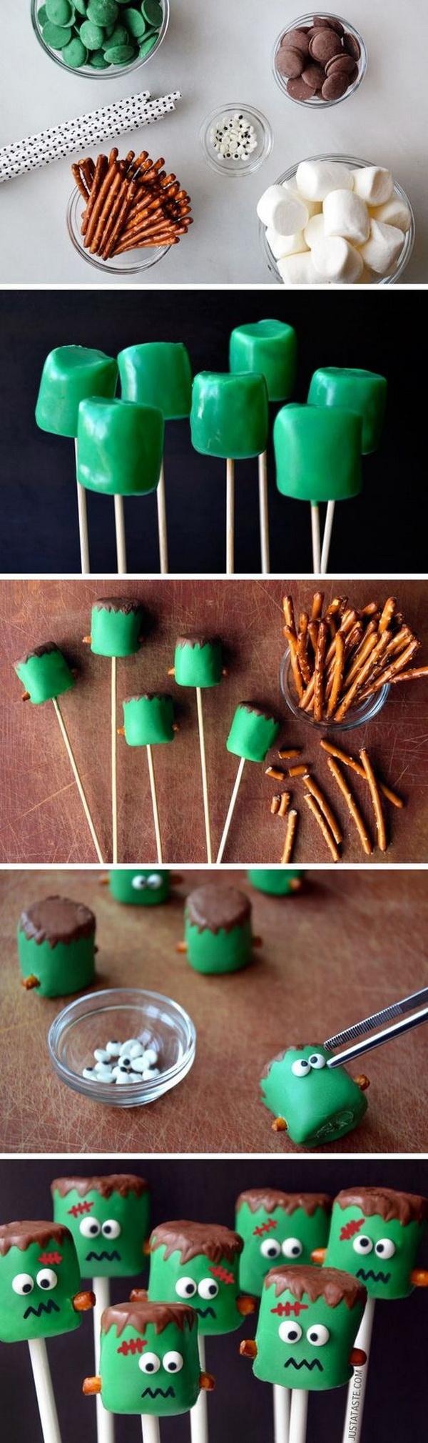 Frankenstein Marshmallow Pops.