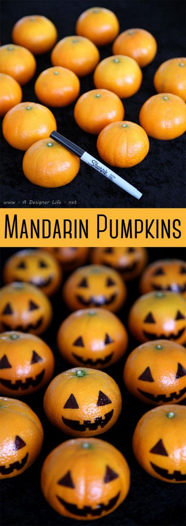 Mandarin Pumpkin Halloween Fruit.