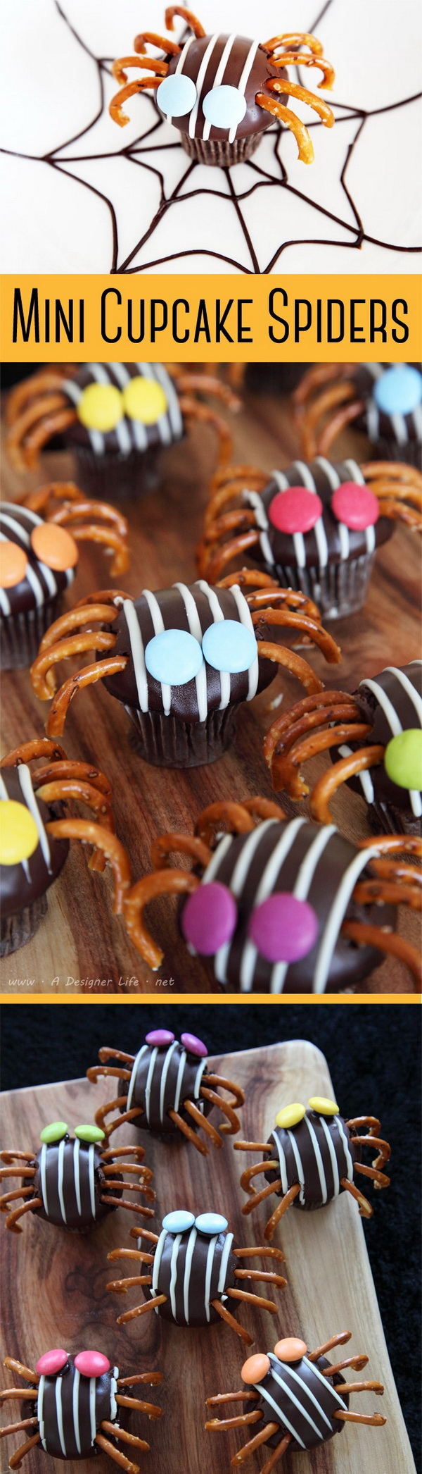 Mini Cupcake Spiders with Pretzel.