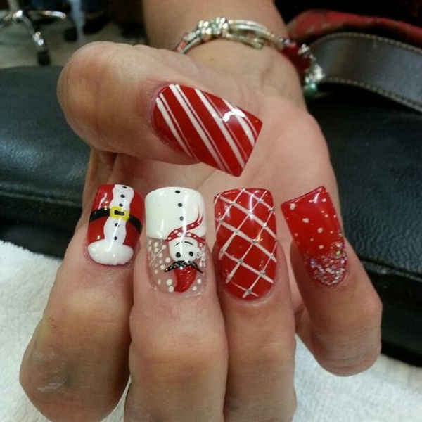 Snowman Christmas Nail Art - 70+ Festive Christmas Nail Art Ideas - For Creative Juice