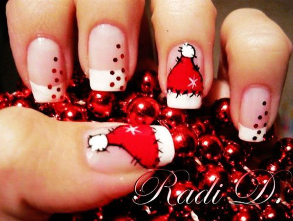 Christmas French Nail Art with Santa Hat Designs.