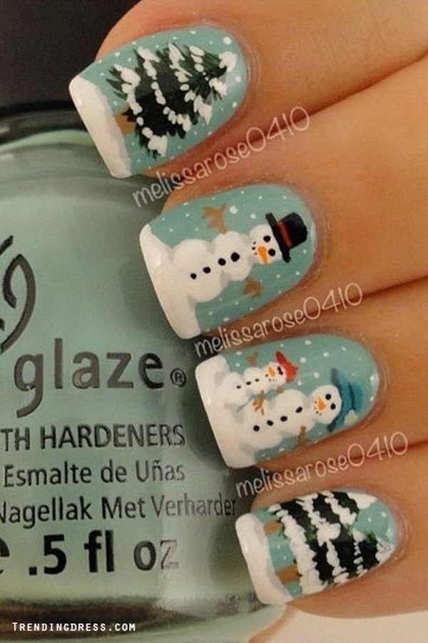 Winter Nail Art with Snowman and Trees - 70+ Festive Christmas Nail Art Ideas - For Creative Juice