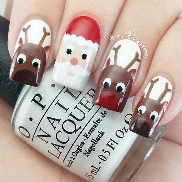 Santa & Reindeer Christmas Nail Art.
