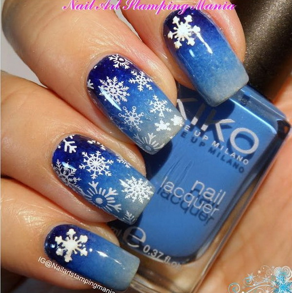 70 festive christmas nail art ideas for creative juice snowflakes manicure with christmas nail art prinsesfo Image collections