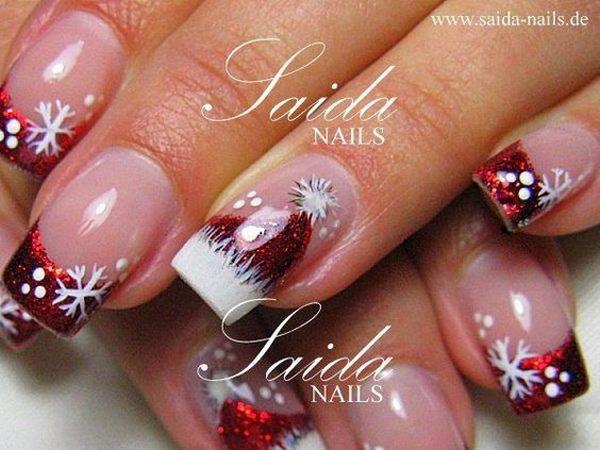 Santa Hat Tipped Christmas Nail Art.
