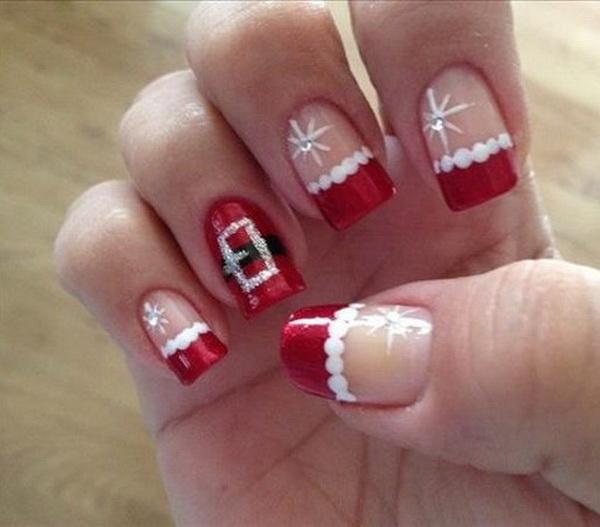 Cute Santa Christmas Nail Design.