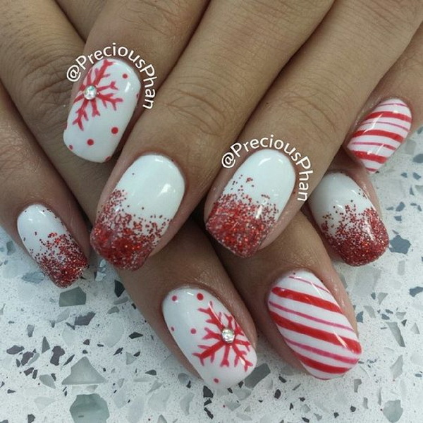 Red Glitters and Snowflakes Christmas Nails.