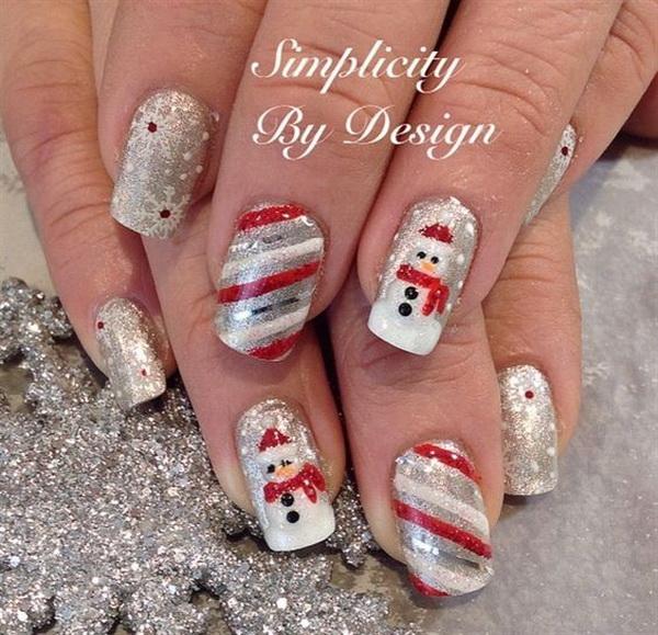 Silver Snowman Christmas Nail Art.