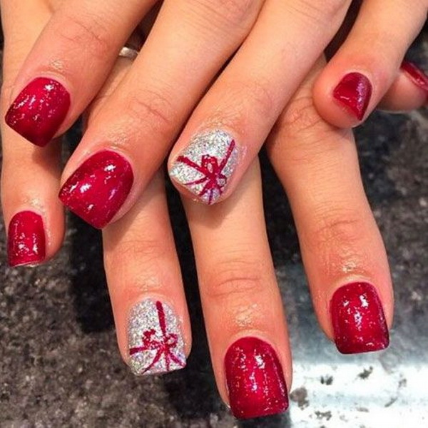 Christmas Nail Art Design with Present Tie - 70+ Festive Christmas Nail Art Ideas - For Creative Juice