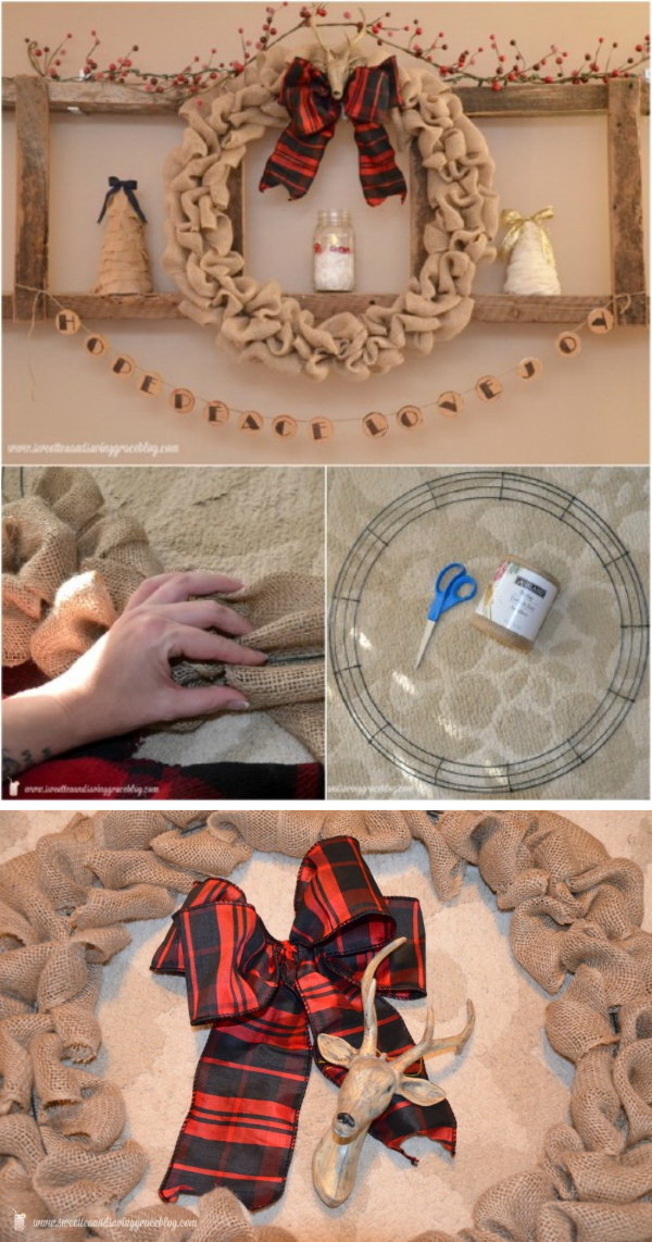 Rustic Burlap Wreath for Christmas