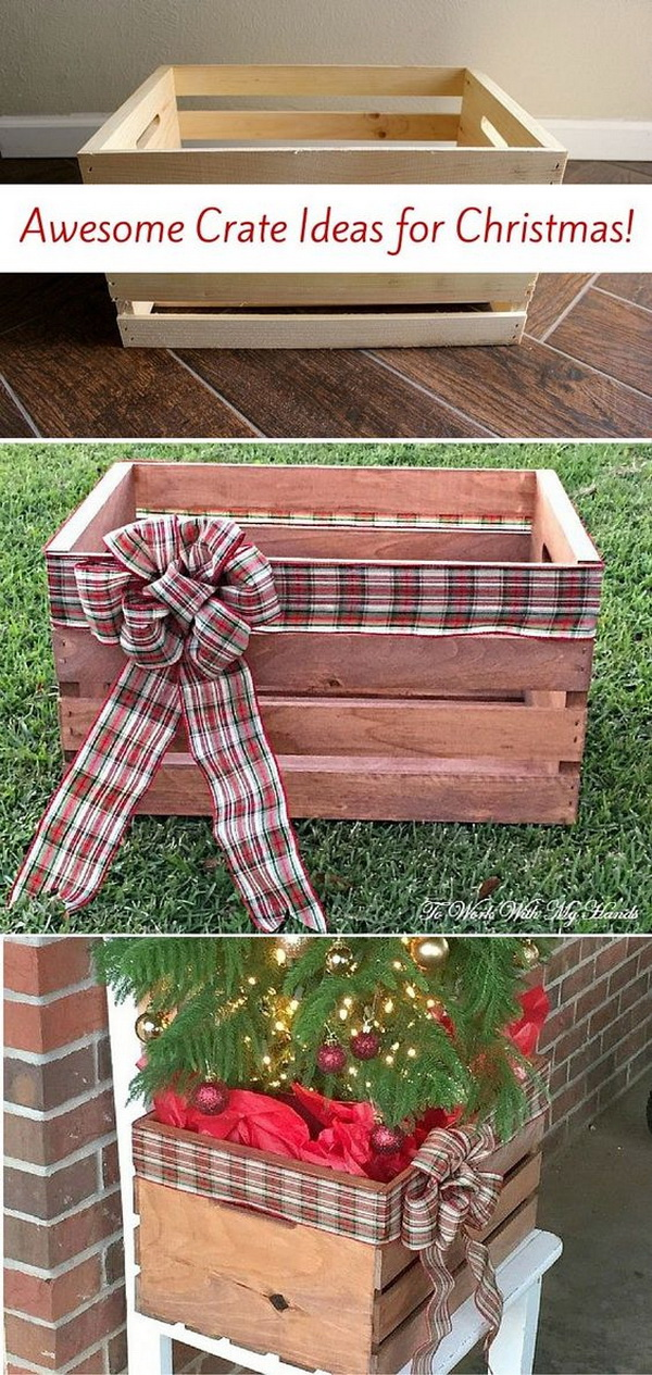 DIY Faux Wood Crate Planter for Christmas. Turn the simple wood crate into this beautiful planter for your Christmas decoration.